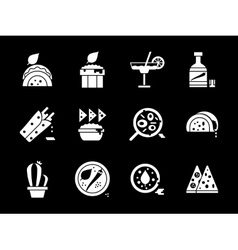 White glyph style mexican cuisine icons set vector