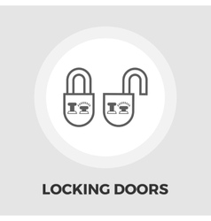 Locking doors flat icon vector