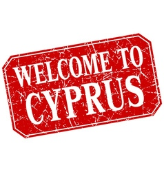 Welcome to cyprus red square grunge stamp vector
