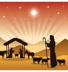 Joseph maria and jesus icon merry christmas vector