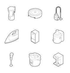 Appliances for kitchen icons set outline style vector