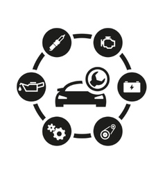 black car service icon set vector image