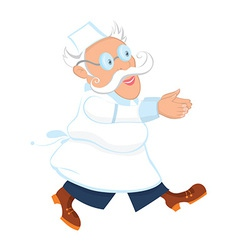 Cartoon old male doctor running vector image