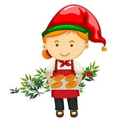 Christmas theme with baker and bread vector image