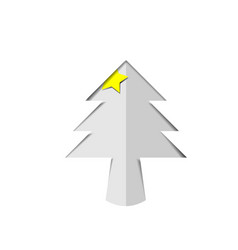 Christmas tree white paper cutout with star vector
