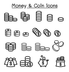 coin money icon set in thin line style vector image vector image