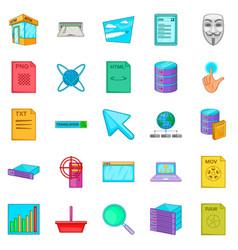 Computer technology icons set cartoon style vector