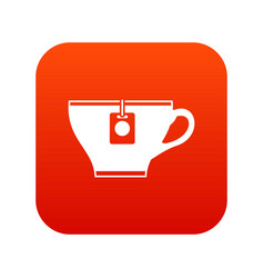 Cup with teabag icon digital red vector