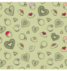 Diamond rings heart patterns vector image