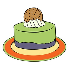Doodle cupcake on plate vector