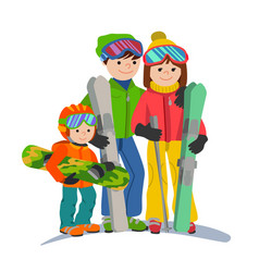 family skiers vacations in the mountains vector image