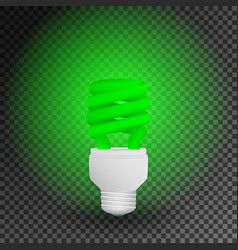 Fluorescent green economical light bulb glowing vector