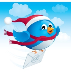 Flying blue bird with envelope vector