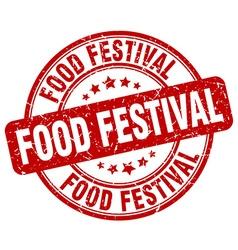 Food festival red grunge round vintage rubber vector