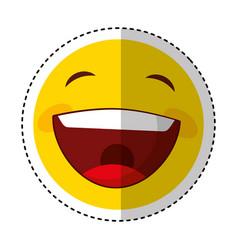 Funny happy emoticon icon vector