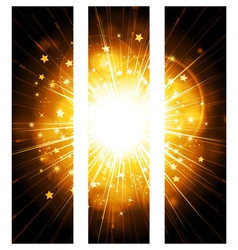 Glowing stars banner background vector