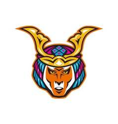 japanese samurai warrior head vector image