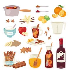 Mulled wine christmas drink multeity vector