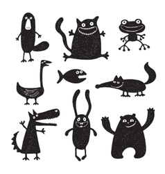 set of cartoon cute monsters vector image vector image