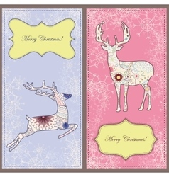 Set of christmas cards with deer vintage vector image vector image