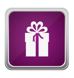 Violet square button relief with silhouette gift vector