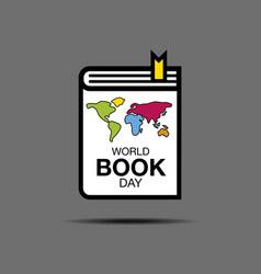 World book and copyright day logo icon flat vector