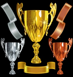 Winning gold silver bronze cups vector