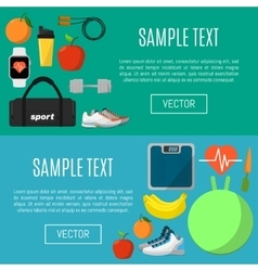 Fitness and a healthy lifestyle banners set vector