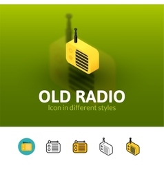 Old radio icon in different style vector