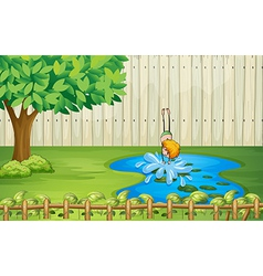 A boy diving in the pond vector