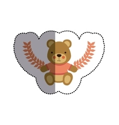 color sticker with teddy bear with t-shirt and vector image
