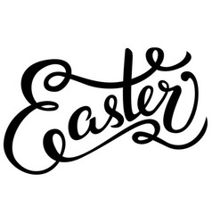Black ink hand drawn easter greeting card on white vector