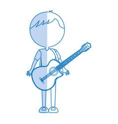 Shadow guitar body man cartoon vector