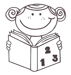 Child reading book cartoon vector image