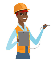 African electrician with electrical equipment vector