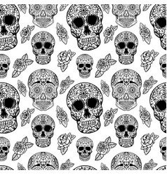 Seamless pattern with sugar skulls isolated on vector
