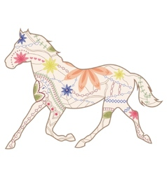 Vintage horse runs trot vector