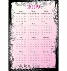 floral grungy calendar vector image