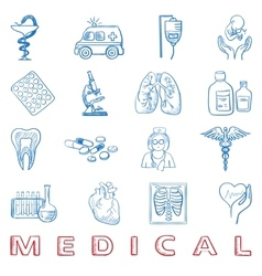 Hand draw doodle health care and medicine icon vector