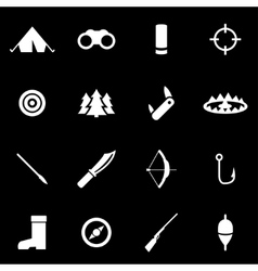 White hunting icon set vector