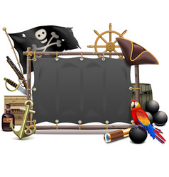 Pirate frame with sail vector