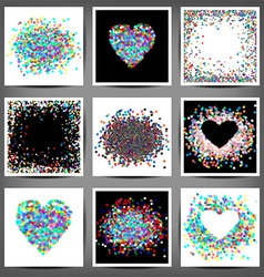 Set of coloured frames from confetti vector