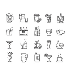 Flat beverages icons vector