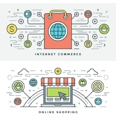 Flat line internet commerce and online shopping vector