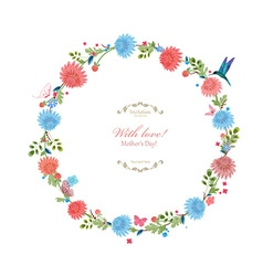 Round floral frame for your design with love vector