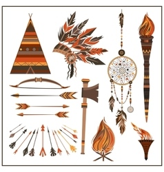 Set elements ethnic style beads wigwam fire vector