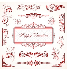 Abstract floral Valentine decorative ornaments vector image vector image