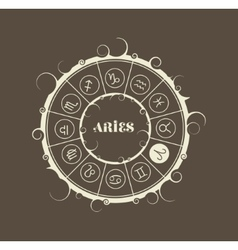 Astrology symbols in circle ram sign vector