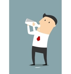 Businessman drinking milk from a bottle vector image