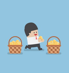 businessman put golden egg in different basket vector image